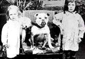 Two young Girls and their early Bulldog
